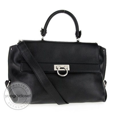 Salvatore Ferragamo Black Leather Mediterreneo Alice Satchel Bag
