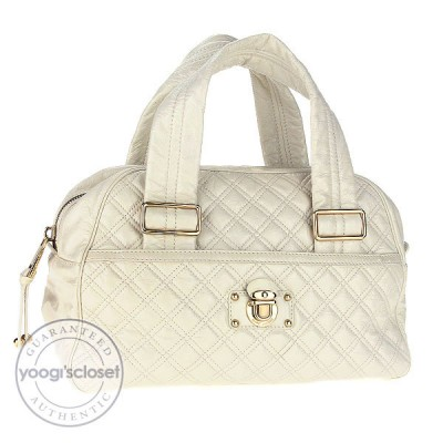 Marc Jacobs Chalk Quilted Patent Leather Ursula Large Bowler Bag