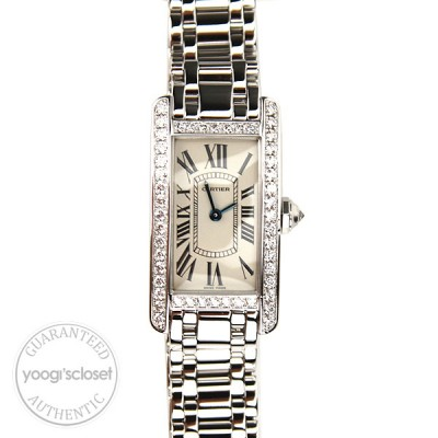 Cartier 18K White Gold with Diamonds Tank American Ladies Watch WB7073L1