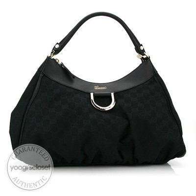 Gucci Black GG Fabric D Gold Large Hobo Bag