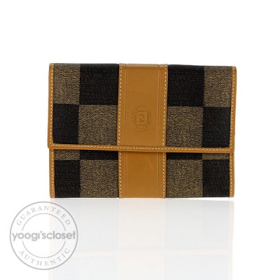 Fendi Checked Coated Canvas Compact Wallet