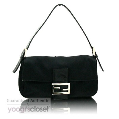 Fendi Black Satin Baguette Bag