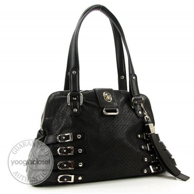 Jimmy Choo Black Perforated Nappa Leather Blanche Satchel Bag