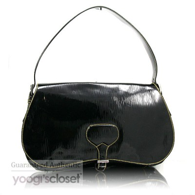 Prada Black Patent Leather Vernice Shoulder Bag BR0644