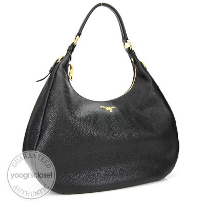 Prada Black Leather Vitello Daino Hobo Bag BR4314