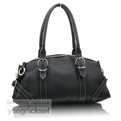 Prada Black Leather Vitello Daino Shoulder Bag BR1448