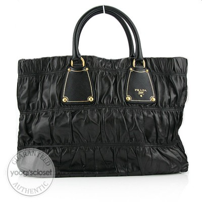 Prada Black  Ruched Nappa Gauffre Antic Tote Bag