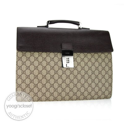 Gucci Beige GG Coated Canvas and Leather Briefcase