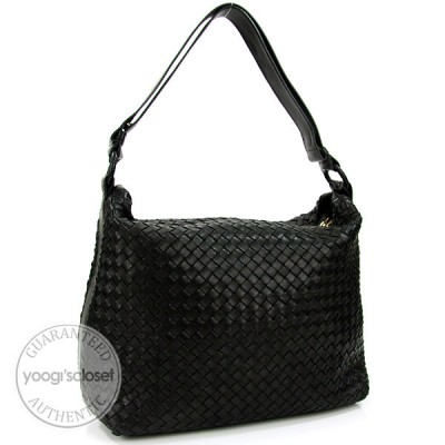 Bottega Veneta Nero Interacciato Woven Nappa Pyramid Bag