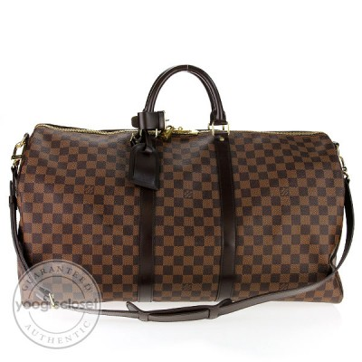 Louis Vuitton Damier Canvas Keepall 55 w/ Shoulder Strap Bag