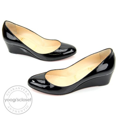 Christian Louboutin Black Patent Leather Cross Flat Wedges Size 6