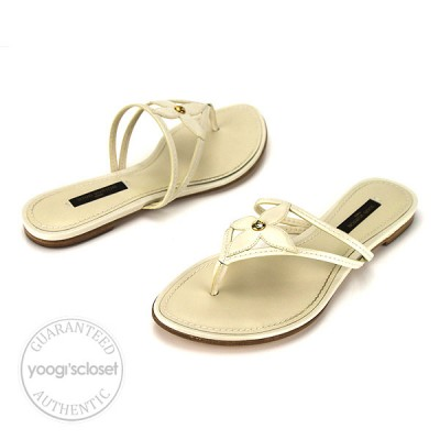 Louis Vuitton Ivory Patent Leather Thongs Sandals Size 5