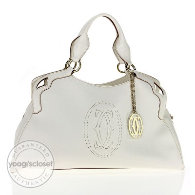 Cartier White Leather Marcello De Cartier Large Bag