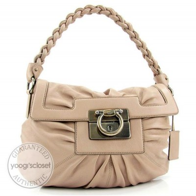 Salvatorre Ferragamo Bisque Nappa Leather Satchel Bag