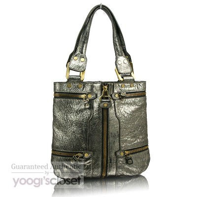 Jimmy Choo Metallic Gold Mona Tote Bag