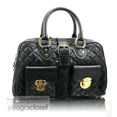 Marc Jacobs Black Quilted Calfskin Leather Venetia Satchel Bag