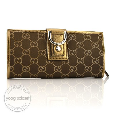 Gucci Gold GG Fabric Abbey Long Wallet
