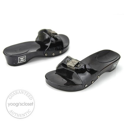 Chanel Black Patent Leather Open Toe Wood Slides Size 6