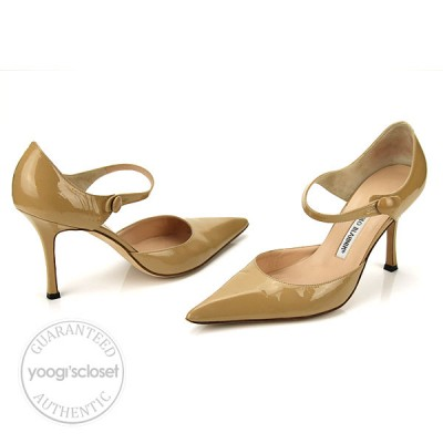 Manolo Blahnik Nude Patent Leather Mary Jane Heels Size 8