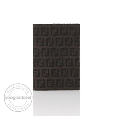 Fendi Dark Brown Zucchino Canvas Passport Holder