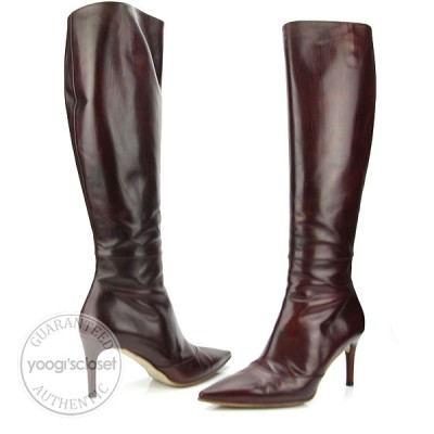 Gucci Rosewood Stivale Pelle Shade Calf Knee High Boots Size 10