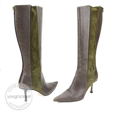 Jimmy Choo Olive Green Simone Distress Leather Boots Size 10.5