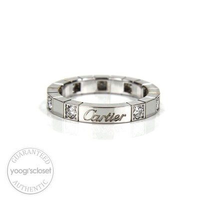 Cartier 18K White Gold Lanieres Ring with Diamonds Size 5.5