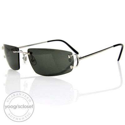 Cartier Black Tinted Lenses Rimless Sunglasses