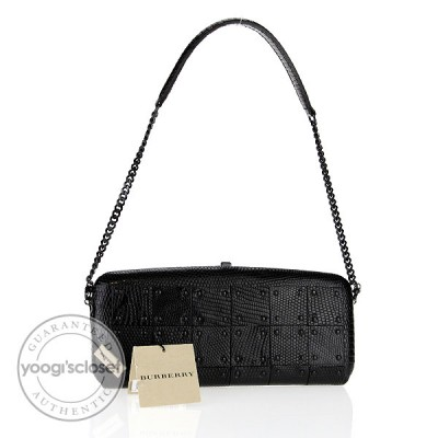 Burberry Prorsum Runway Black Lizard Warrior Check Evening Bag