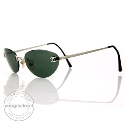 Chanel Dark Grey Tint Rimless Frame Sunglasses- 4003