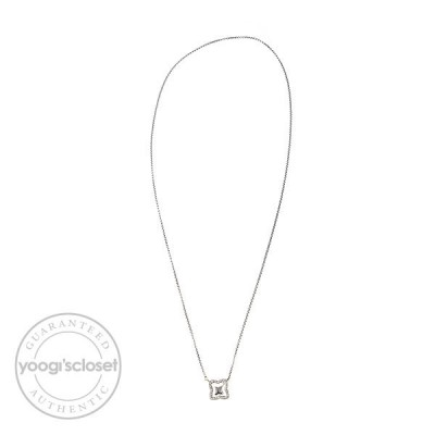 David Yurman Sterling Silver w/ Diamonds Quatrefoil Lariat Necklace