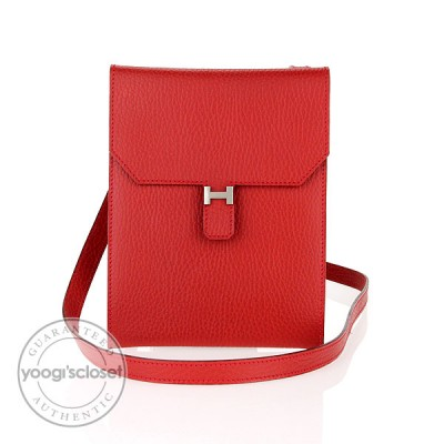 Hermes Rouge Garrance Togo Leather Amelie Cross Body Bag