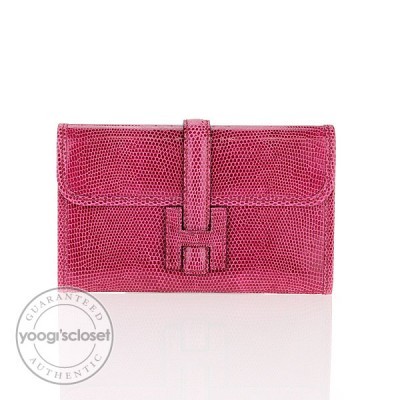 Hermes Fuchsia Lizard Jige Mini Mini Clutch Bag