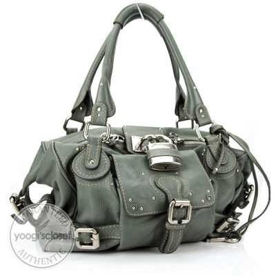 Chloe Green-Grey Leather Front Pocket Paddington Satchel Bag