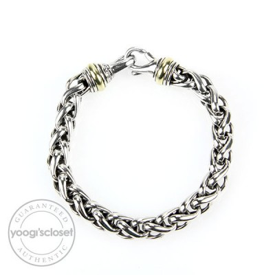 David Yurman 14k Gold and Sterling Silver 8mm Wheat Chain Bracelet