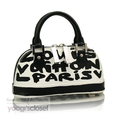 Louis Vuitton Limited Edition Black Glazed Leather Alma Graffiti PM Bag
