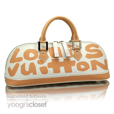 Louis Vuitton Limited Edition Beige Glazed Leather Alma Graffiti Horizontal Bag