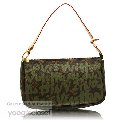 Louis Vuitton Limited Edition Khaki Graffiti Sprouse Accessories Pochette Bag