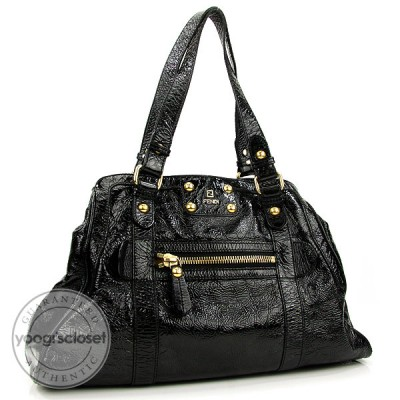 Fendi Black Patent Leather Du Jour Satchel Bag