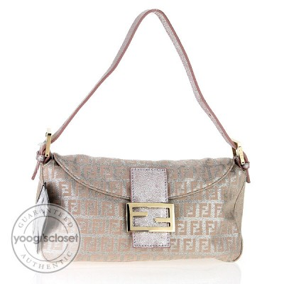 Fendi Metallic Pink Zucchino Canvas Banquette Bag