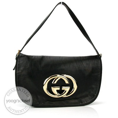 "Gucci Black Leather ""Britt"" Medium Shoulder Bag"
