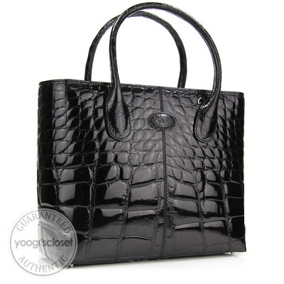 Tod's Black Alligator Classic D Bag