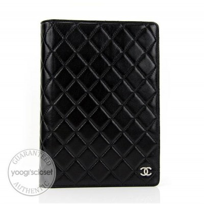 Chanel Black Quilted Lambskin Leather Agenda/Notebook
