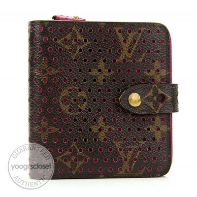 Louis Vuitton Limited Edition Monogram Perforated Fuscia Zipped Compact Wallet