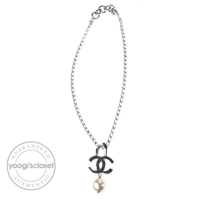 Chanel  CC Logo Pearl Drop Necklace