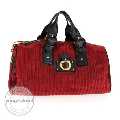 Marc Jacobs Crimson Quilted Cord Suede Elizabeth Bag