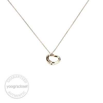 Tiffany & Co. Silver Elsa Peretti Small Open Heart Pendant Necklace