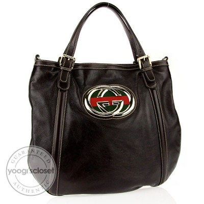"Gucci Dark Brown Leather ""Britt"" Hobo Bag"