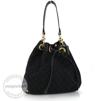 Gucci Black GG Fabric Drawstring Bag