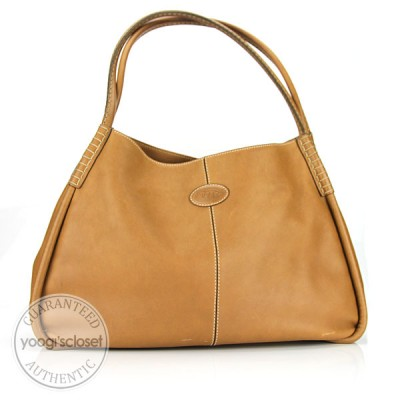 Tod's Tan Leather Hobo Bag